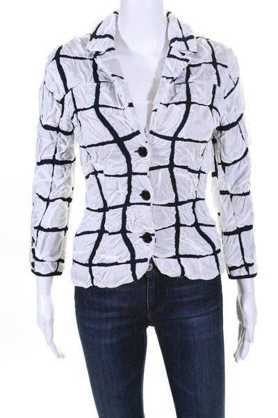 Paula Hian Womens Long Sleeve Davaney Blazer Jacket White Navy Blue Size XS