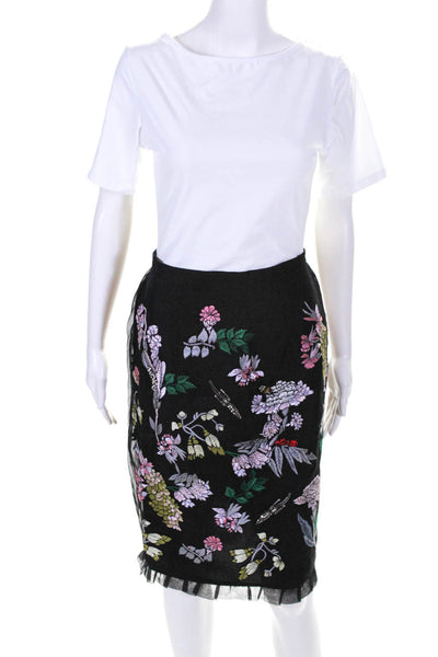 Markus Lupfer Womens Silk Organza Embroidered Beaded Skirt Black Size 4