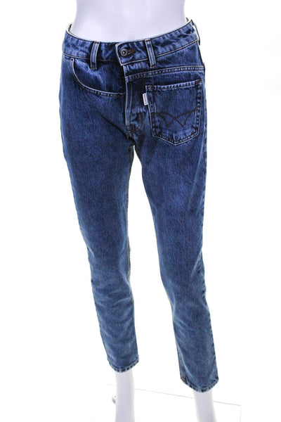 Filles A Papa Womens Twisted Skinny 7/8 Jeans Blue Size 25