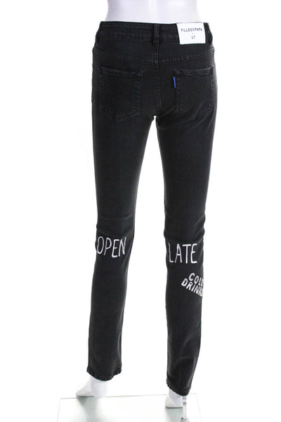 Filles A Papa Womens Embroidered Slim Straight Jeans Black Size 25
