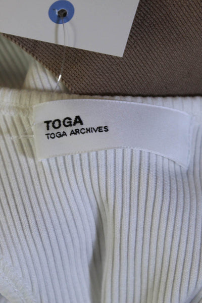 Toga Toga Archives Womens Cotton Ruffle Tank Top White Size 40 European