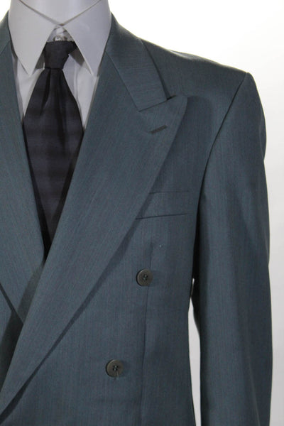 Ted Lapidus Mens Pleated Double Breasted Suit Sea Green Size 40 34