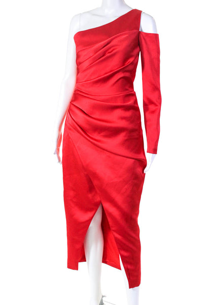 Rasario Womens Satin Draped One Shoulder Long Sleeve Midi Dress Red Size IT 38