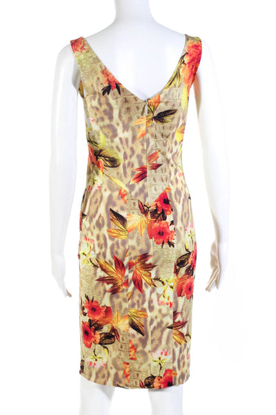 Adriana Iglesias Womens Westwood Floral V Neck Sheath Dress Orange Size IT 42