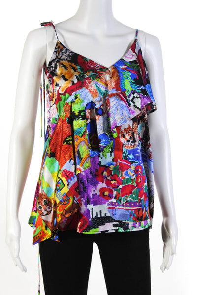 Libertine Womens Abstract Tapestry Wrap Tie Silk Tank Top Multicolor Size Medium