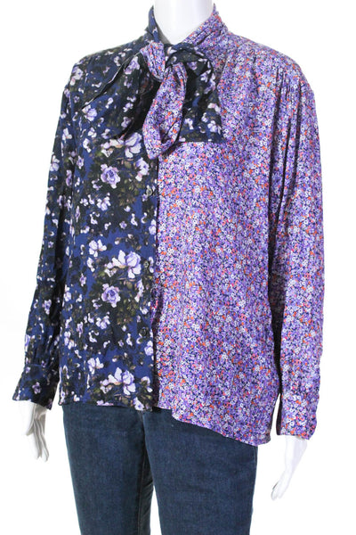 Ben Taverniti Womens Mixed Floral Draped Button Up Blouse Blue Purple Size IT 40