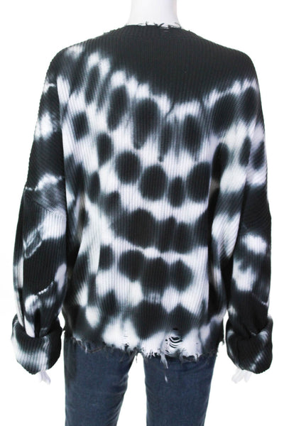 Ben Taverniti Womens Over Dyed Distressed Sweater Black White Size Medium