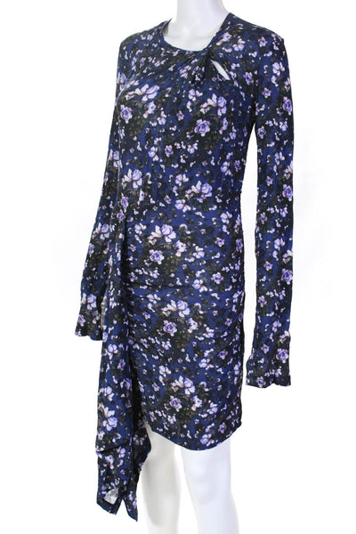 Ben Taverniti Womens Long Split Sleeve Floral Knot Maxi Dress Blue Size XS