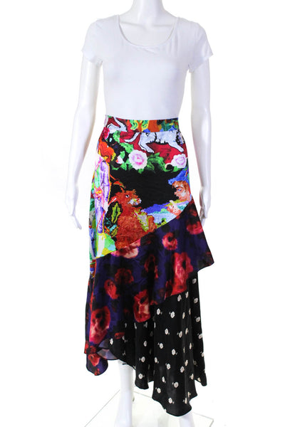 Libertine Womens Mixed Print Abstract Asymmetrical Silk Beach Skirt Size Large