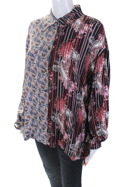 Ben Taverniti Womens Floral Paisley Button Down Blouse Burgundy Size IT 40