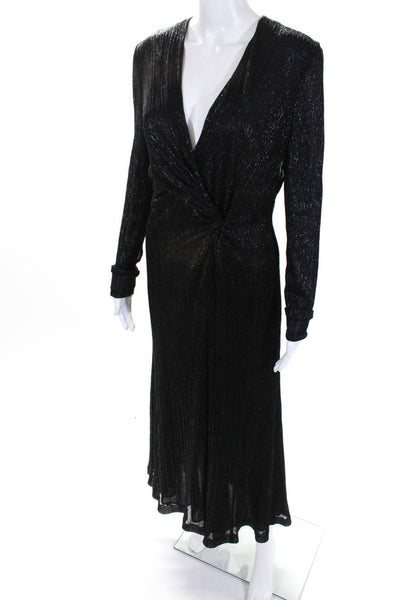 Galvan London Womens Plisse Long Sleeve Knotted Lurex Gown Black Size 8