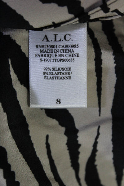 A.L.C. Womens Silk Long Sleeve Marina Keyhole Mock Neck Top Beige Black Size 8