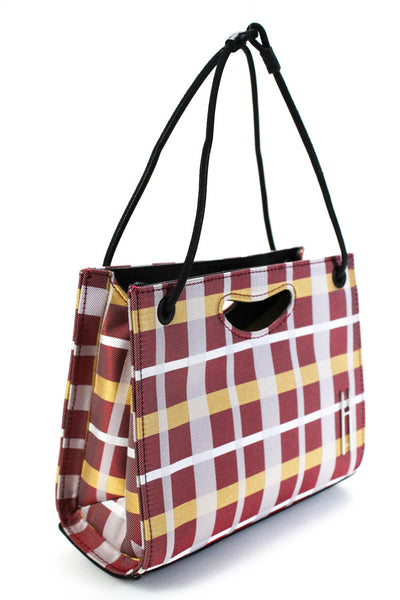 Hayward Womens Mini 1712 Basket Tote Handbag Bordeaux Red Grey