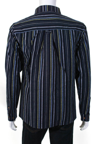 Native Youth Mens Selwyn Yarn Dyed Long Sleeve Striped Shirt Navy size Large