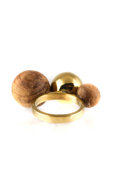 Soko Womens Teak Dilys Cocktail Ring Brass Wood Size 6.5