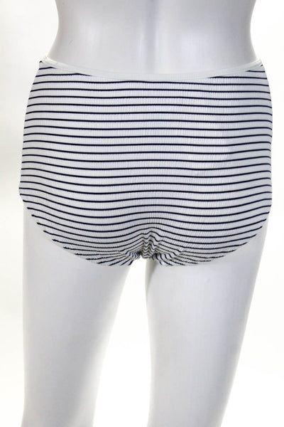 Solid & Striped Womens The Lolita Bikini Bottoms Blue White Seersucker Size XS