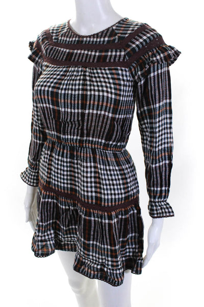 dRA Womens Harvest Plaid Long Sleeve Nara Dress Multi Colored Size Extra Small