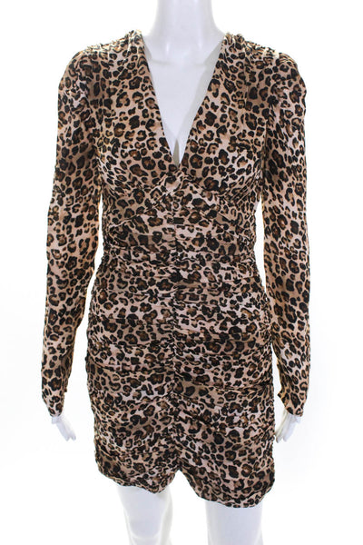 Nicholas Womens Gathered Animal Print Mini Party Dress Brown Size 8