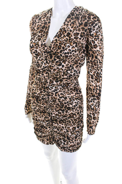 Nicholas Womens Gathered Party Dress Leopard Size 2