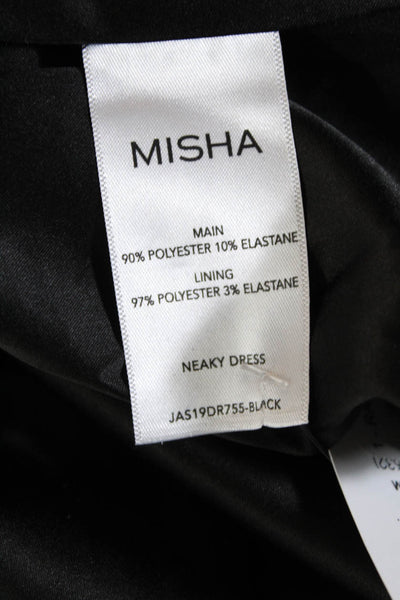 Misha Collection Womens Sequined V Neck Ruched Neaky Dress Black Size 0