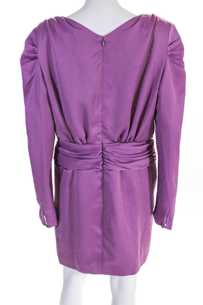 Nicholas Womens Sweetheart Long Sleeve Gathered Dress Purple Size 12