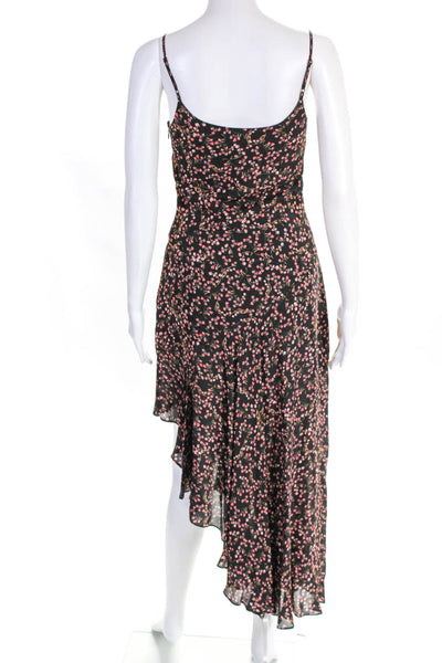 Nicholas Womens Blocked Floral Sleeveless Slip Dress Black Pink Size 2