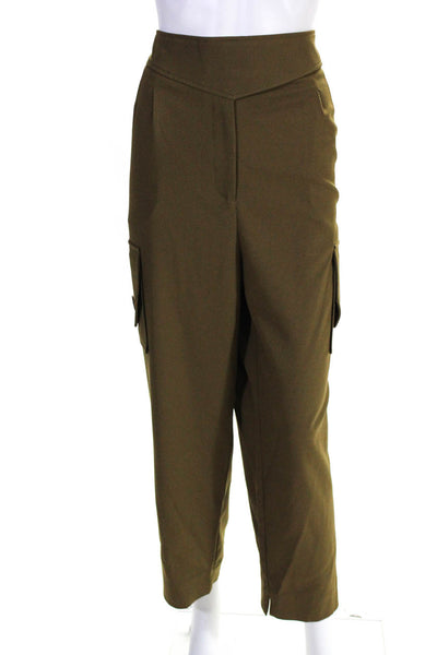 Nicholas Womens High Waist Cropped Twill Cargo Pants Olive Size 2