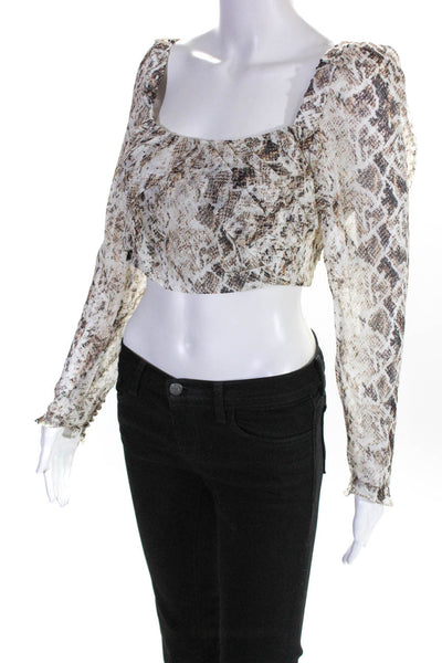 Nicholas Womens Gathered Snake Print Long Sleeve Crop Top Ivory Size 6