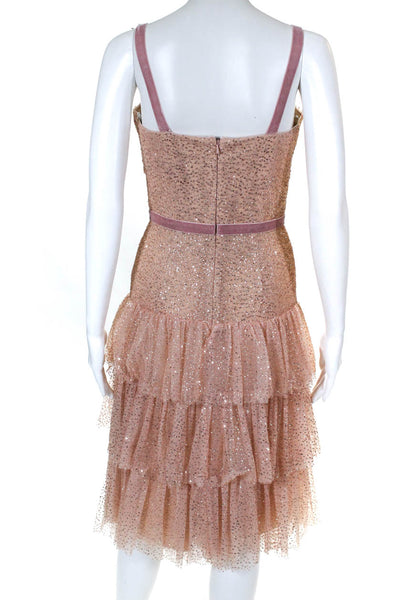 Marchesa Notte Womens Glitter Tulle Cocktail Dress Rose Gold Size 14