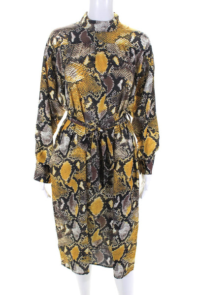 OPT Womens Venus Snake Print Belted Shift Dress Yellow Size Extra Small