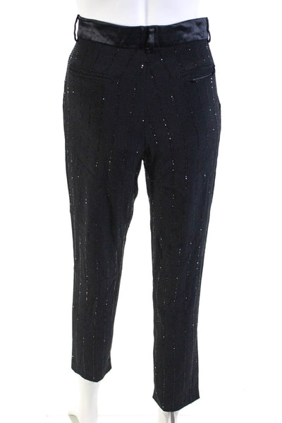 Filles A Papa Womens Rhinestone Satin Trim Slim Leg Crepe Pants Black Size 1