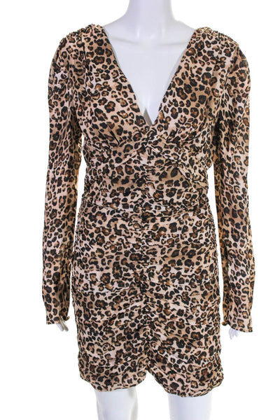 Nicholas Womens Gathered Party Dress Brown Black Leopard Print Size 6