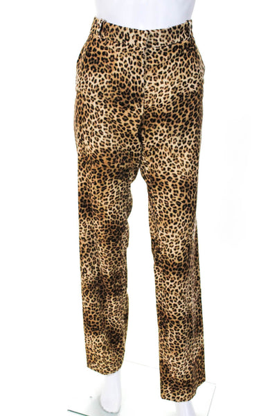 Pallas Womens Festival Animal Print Trousers Leopard Printed Velvet Size IT 36