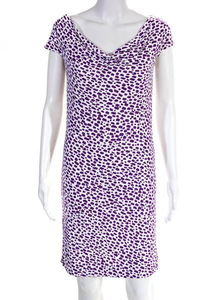 Balenciaga Womens Sleeveless Printed Cowl Neck Dress White Purple Size 38 EUR