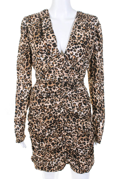 Nicholas Womens Gathered Animal Print Party Dress Brown Size 10