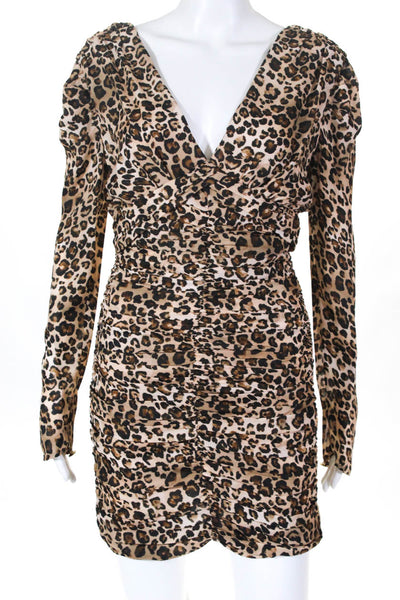 Nicholas Womens Leopard Long Sleeve Gathered Party Dress Brown Size 0