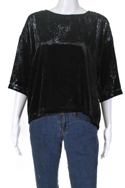 XIRENA Womens Bijoux Crew Neck Top Black Shiny Size Small