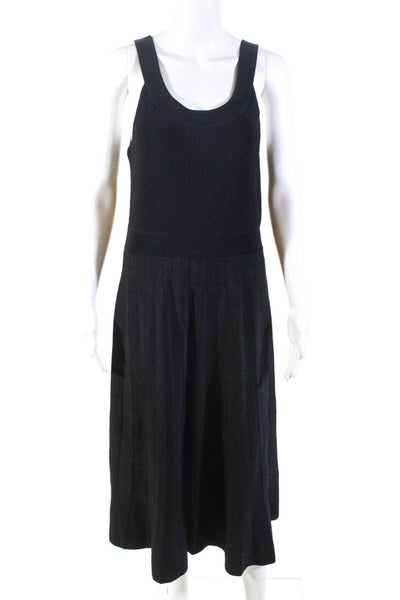 Leo & Sage Womens Scoop Neck Knit Sleeveless Maxi Dress Black Size Large