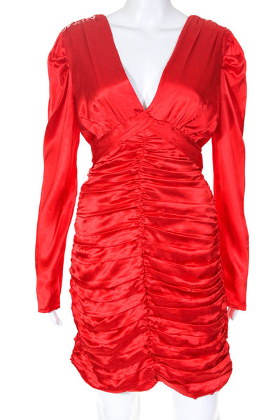 Nicholas Womens Gathered Party Dress Scarlet Red Deep V Neck Size 12