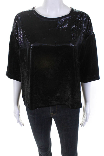 XIRENA Womens Short Sleeve Velvet Metallic Bijoux Top Black Size XS