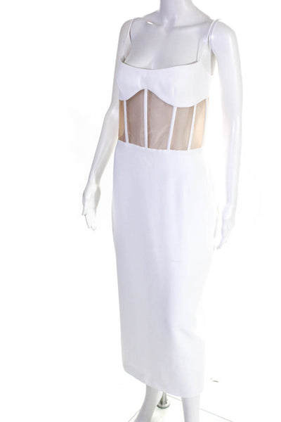 Rasario Womens Sheer Boning Spaghetti Strap Corset Sheath Dress White Size IT 38