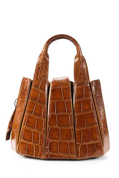 Tardini Alligator Drawstring Julie Tote Shoulder Handbag Honey Brown