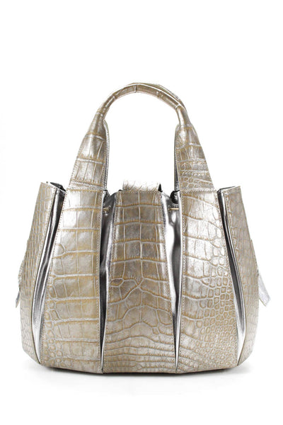 Tardini Alligator Drawstring Julie Tote Shoulder Handbag Silver Beige