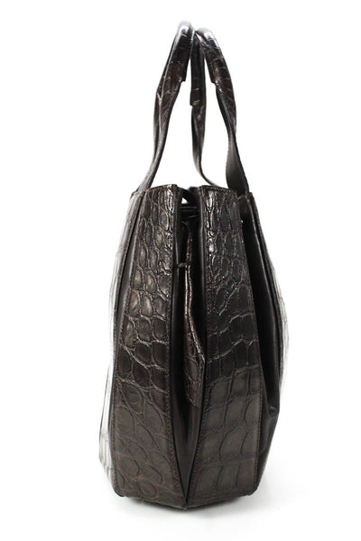 Tardini Alligator Drawstring Julie Tote Shoulder Handbag Dark Brown