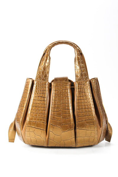 Tardini Alligator Drawstring Medium Julie Tote Shoulder Handbag Gold Brown