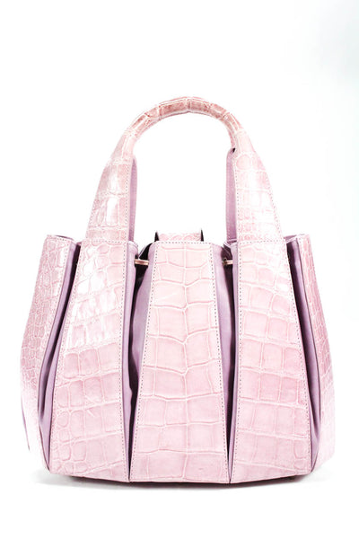 Tardini Alligator Drawstring Medium Julie Tote Shoulder Handbag Pink