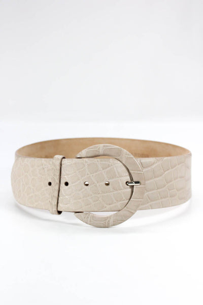 Tardini Beige 65mm Alligator Contour Belt Size 36