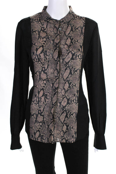 FRAME Womens Colorblock Snake Print Button Up Blouse Black Size Medium