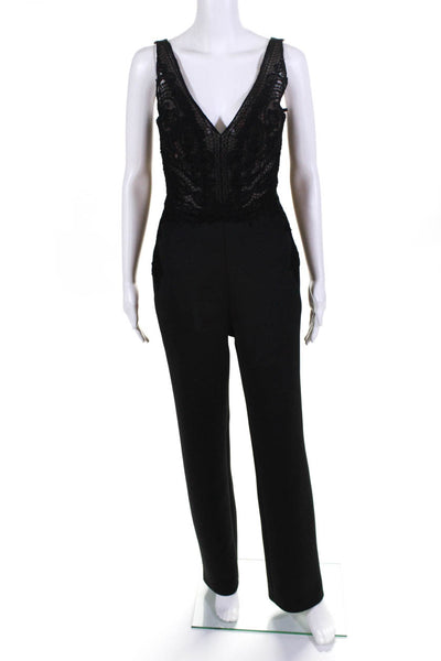 Badgley Mischka Womens Sleeveless Lace Boot Cut V-Neck Jumpsuit Black Size 0