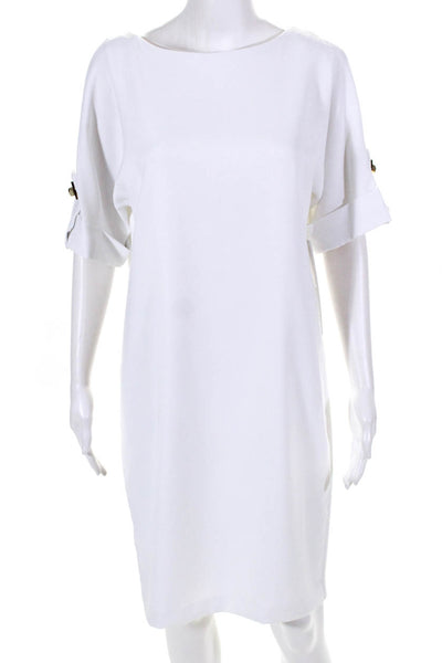 Badgley Mischka Womens Short Sleeve Mini Shift Dress White Size 4